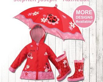 Ladybug Raincoat, Personalized Kids Ladybug Rain Gear,  Kid's Rain boots, Ladybug Umbrella, kids rain coat, kids rain jacket, ladybug boots