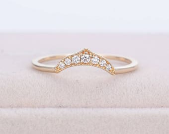 Art deco wedding ring Rose Gold Curved wedding band Thin Dainty Diamond Ring Vintage Unique stacking Delicate Promise Anniversary matching