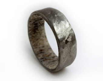 Antler and Hammered Titanium Ring, Antler Ring, Hammered Titanium, Wedding Band, Wedding Ring, Engagement Ring, Engagement Band, Jewelry