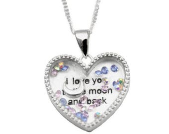 """Love You To The Moon Solid Silver Floating Heart Pendant with 18"""" Silver Chain"""
