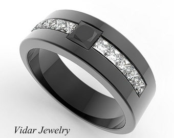 Trillion Cut Diamond Wedding Band For A Men In 14K Black Gold