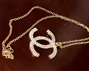 Big Rhinestone Pendant Gold Chain Necklace,Pendant Necklace,Wedding Necklace