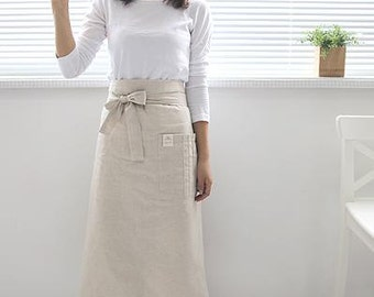 Free shipping- Cozymom Half Japanese style cross-front denim smock  Natural linen APRON