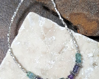 Rainbow Flourite Gemstone Necklace Set with Amethyst & Iolite, Gemstone Jewelry Jewellery, Sterling Silver, Women's Gift for Her, Chakra