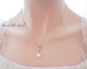 Rose gold pearl necklace ~ Brides necklace ~ AAA+ Cubic zirconias, Marquise pendant ~ Rose gold Swarovski pearl necklace, Elegant, LILLY