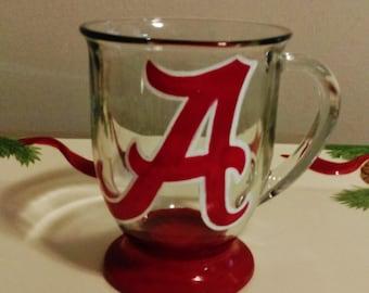 Alabama Crimson Tide Script A Hand Painted 16 oz. Glass Coffee Mug