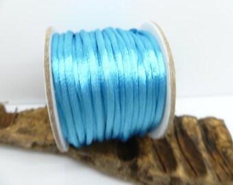 Blue Satin Cord - 10 yards spool Kumihimo Macrame Shamballa Braiding Nylon Cord - Bracelet Making Cord - 2mm round -N020