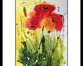 Original painting abstract poppy