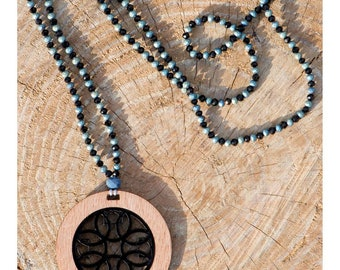 Black and blue wood necklace