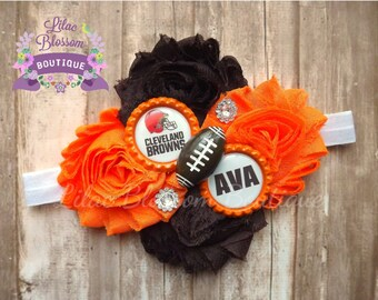 Cleveland Browns Personalized Baby Headband, Browns Football Hair Bow, Browns Girl Outfit, Browns Baby Outfit, Browns Football Shirt Girl