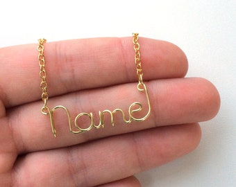 Personalized Wire Name Necklace or Word Necklace Custom Gold Silver