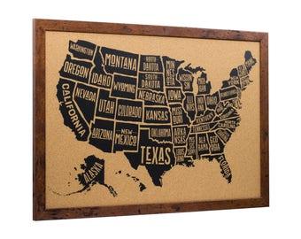 Craig Frames, 20x30 Inch Wayfarer Cork Board, Typographic USA Push Pin Travel Map, Rustic Dark Walnut Frame and Pins, (5632030MAP01F)