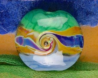 "Handmade Lampwork Bead ""Lakeside Twists"" SRA Glass Textural Focal Bead ~ OOAK Unique ~ Meadow Shades"