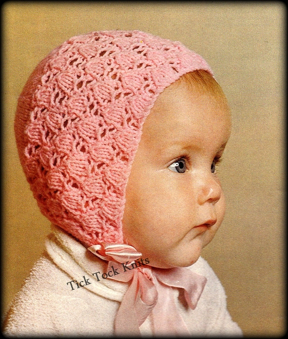 No349 Baby Bonnet Knitting Pattern Pdf Vintage Tulip Lace Bonnet