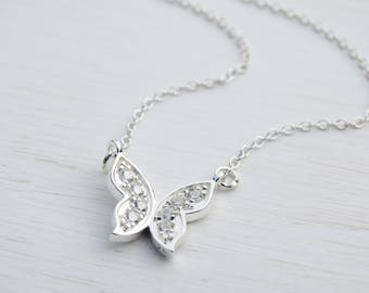 Silver Butterfly Necklace, Sterling Silver, Cubic Zirconia