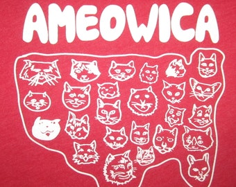 womens ameowica t shirt america cats USA cute funny merica murica united states cat meow awesome cool patriotic red white blue 4th of july