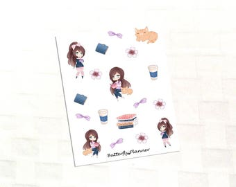 Bookworm Deco Stickers, Reading, Chibi, Cat Planner, Book Lover