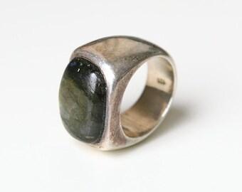 Vintage  Silver  Men Ring, Golden Sheen Obsidian