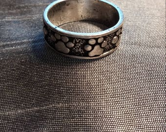 Sterling Silver Paw Print Band ring