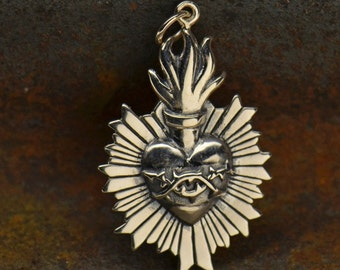 Sterling Silver Sacred Flaming Heart with Thorns Charm