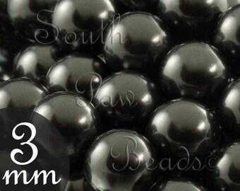 3mm Swarovski pearls Black  beads by Swarovski Style 5810 (50)