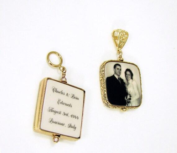 "Two 14K Gold Filled Framed Photo Pendants - Medium (1"")"
