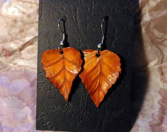 Original dry leaves earrings. Botanical jewellery. Embossed Leather