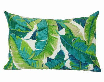 Banana leaf lumbar pillow cover 12x18 12x20 13x20 Tropical lumbar Palm leaf lumbar Hawaiian pillow Outdoor lumbar pillow Green turquoise