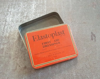 Vintage British elastoplast tin - t.j smith and nephew - vintage medicine cabinet, vintage tin, red tin, tin box, bathroom decor