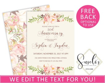 50th Wedding Anniversary Invitation, Watercolor Boho Flowers Invitation Elegant Personalized Party Printable Card, DIGITAL FILES 3