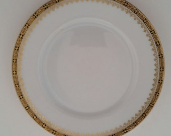 Rosenthal Thomas China Bread u0026 Butter Plate/THO691/White and Gold China Bread and Butter Plates/Gold and Black Geometric Designs/Set of 2 & Rosenthal Thomas China Saucers/THO691/White and Gold China