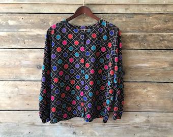 Vintage 80s loud print button blouse