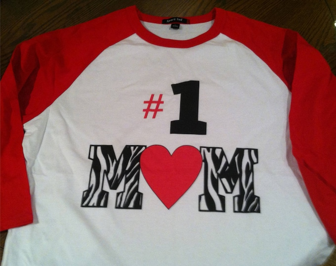 Mother's Day #1 Mom 3/4 sleeve baseball style raglan T shirt, many sizes and colors