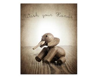 Little Wooden Elephant, Wash your Hands, Photo Print, Childrens Room, Bathroom Decor, Wall Art, Nursery Decor