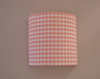 Applique wall half cylindrical fabric scales pink and white