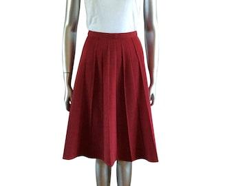 Vintage Burgundy Pleated Skirt