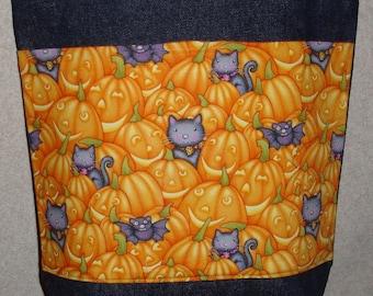 New Medium Handmade Cats and Pumpkins Halloween Denim Tote Bag