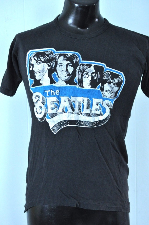 faded Tee Tshirt Thin Lennon Super Vintage Small John MEDIUM n Beatles 70s 80s black Soft 0qRSYW1
