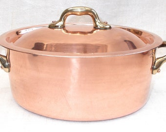 Superb Oval Copper VILLEDIEU FRANCE Casserole Faitout Cooking Pot. Cassoulet French Quality Pan. Tin lined, Stock Pot, Good Quality (8472