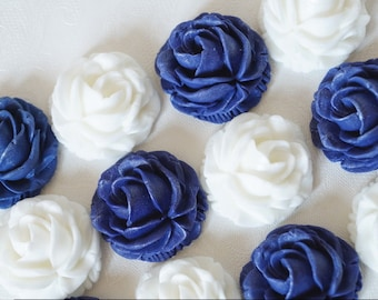 12 Navy/White roses cupcakes cake toppers, edible fondant roses decorations, wedding roses toppers, birthdays