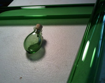 Green Hand Blown Glass Bottle Pendant Hand Sculpted by Jenn Goodale