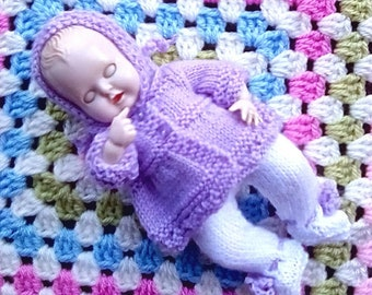 Knitted Dolls Clothes  6.5 inch Reborn Doll or Rosebud Thumbsucker - Lilac and White, Immediate dispatch