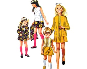 Girls Jacket, Blouse, Skirt, Pantskirt Pattern Simplicity 8622 Top and Panel Skirt Girls Size 12 Vintage Sewing Pattern