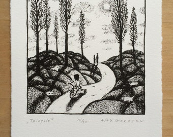 Tricycle - Original Lithograph - by Alex Gerasev - Free Shipping