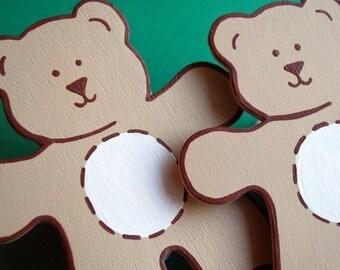 set/2 Custom Teddy Bear Quilt Clips - coordinates with Sumersault Teddy Trucks bedding