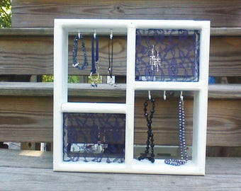 Upcycled, White and Navy Blue Chalk Paint, Hanging Jewelry Organizer and Display