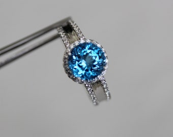 Magnificent Genuine Swiss Blue Topaz Round in an Accented Sterling Silver Ring