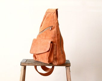 orange suede leather backpack - hiking rucksack - hippie boho sling bag - crossbody