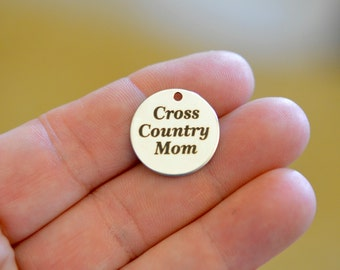 Cross Country Mom Custom Laser Engraved Stainless Steel Charm CC91