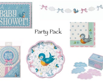 Baby Shower Party Ware. Plates, Napkins, Rosette, Garland, Invites, Game or Party Pack